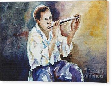 Jazz Player Wood Print by Joyce A Guariglia