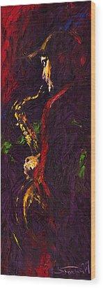Jazz Red Saxophonist Wood Print by Yuriy  Shevchuk