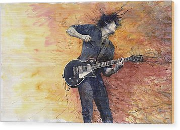 Jazz Rock Guitarist Stone Temple Pilots Wood Print by Yuriy  Shevchuk