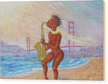 Wood Print featuring the painting Jazz San Francisco by Xueling Zou