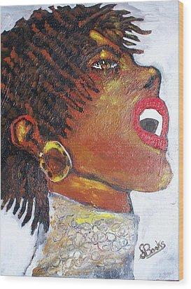 Jazz Singer Jade Wood Print by Samuel Banks