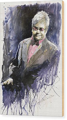 Jazz Sir Elton John Wood Print by Yuriy  Shevchuk