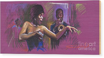 Jazz Song.2. Wood Print by Yuriy  Shevchuk