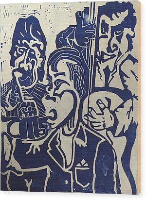 Wood Print featuring the relief Jazz Trio by Jame Hayes