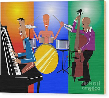 Jazz Trio Wood Print by Walter Oliver Neal