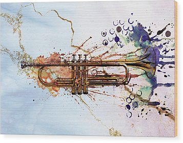Jazz Trumpet Wood Print by David Ridley