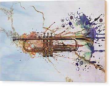 Jazz Trumpet Wood Print