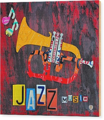 #jazz #trumpet #original #louisiana Wood Print