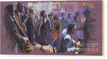 Jazz Wood Print by Yuriy  Shevchuk