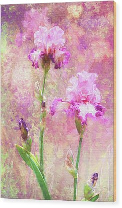 Jazzy Irises Wood Print