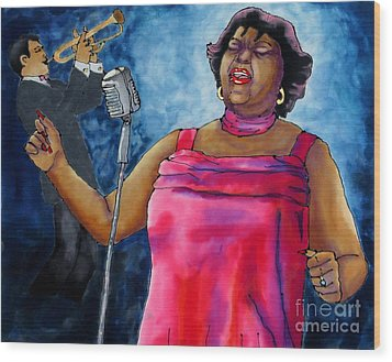 Jazzy Lady Wood Print by Linda Marcille