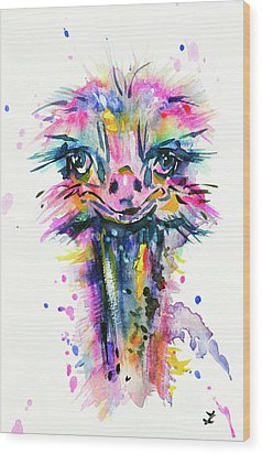 Wood Print featuring the painting Jazzzy Ostrich by Zaira Dzhaubaeva