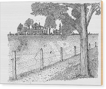 Wood Print featuring the drawing Jb Farm by Jack G  Brauer