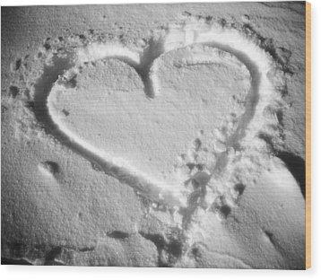 Winter Heart Wood Print by Juergen Weiss