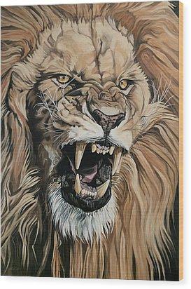 Jealous Roar Wood Print by Nathan Rhoads