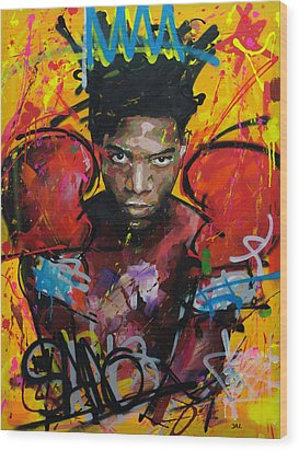 Wood Print featuring the painting Jean-michel Basquiat by Richard Day