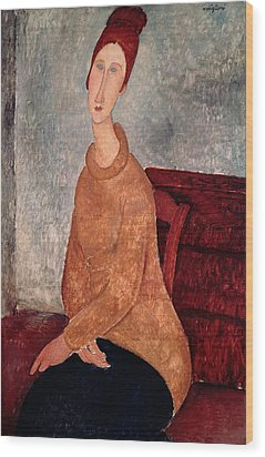 Jeanne Hebuterne In A Yellow Jumper Wood Print by Amedeo Modigliani