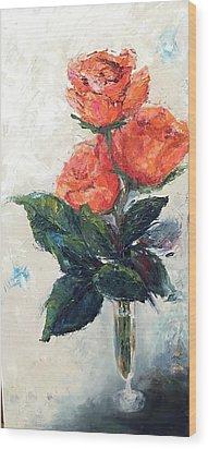 Jeannie's Roses Wood Print