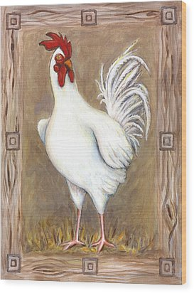 Jed The Rooster Wood Print by Linda Mears