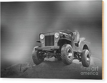 Wood Print featuring the photograph Jeep Bw by Charuhas Images