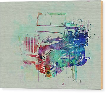 Jeep Willis Wood Print by Naxart Studio