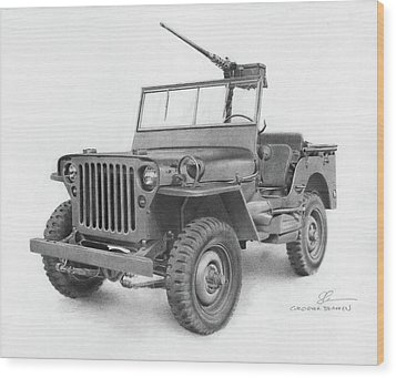 Jeep Willys Wood Print by Christopher Bracken