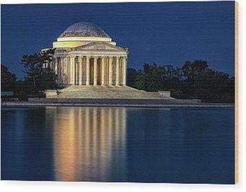 Jefferson Memorial At Twilight Wood Print by Andrew Soundarajan