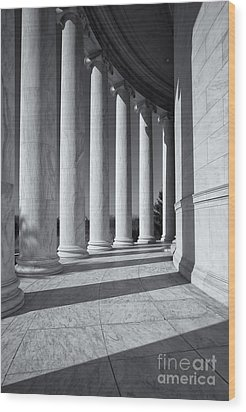Jefferson Memorial Columns And Shadows Wood Print by Clarence Holmes