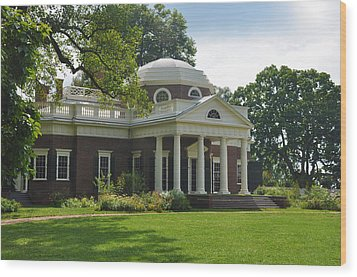Jeffersons Monticello Wood Print by Bill Cannon