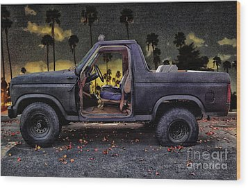 Jeff's Jeep And The Fallen Leaves Wood Print by Bob Winberry