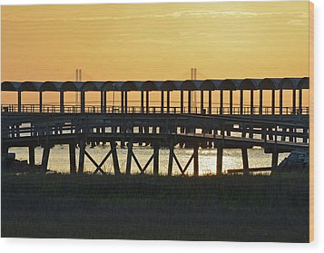 Jekyll Island Pier At Sunset Wood Print by Bruce Gourley