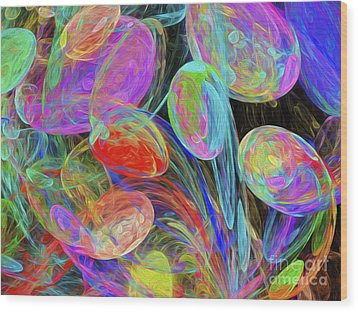 Wood Print featuring the digital art Jelly Beans And Balloons Abstract by Andee Design