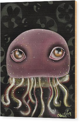 Jellyfish Wood Print by  Abril Andrade Griffith