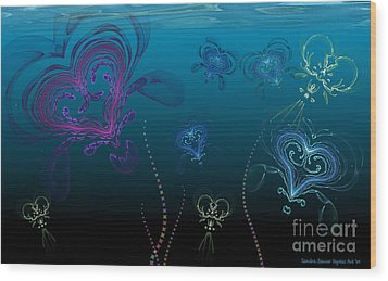 Jellyfish Love Wood Print by Sandra Bauser Digital Art