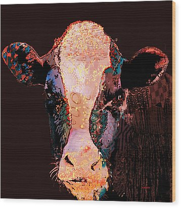 Jemima The Cow Wood Print by Marlene Watson