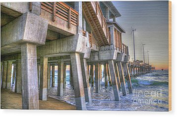 Jennette's Pier Wood Print by Scott and Dixie Wiley