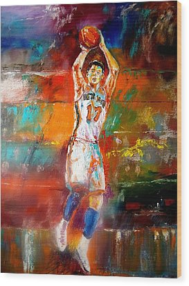 Jeremy Lin New York Knicks Wood Print by Leland Castro