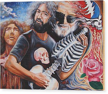 Jerry Garcia And The Grateful Dead Wood Print by Darwin Leon