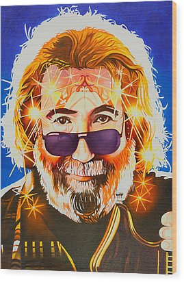Wood Print featuring the painting Jerry Garcia-dark Star by Joshua Morton
