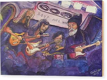 Wood Print featuring the painting Jerry Joseph And The Jackmormons by David Sockrider