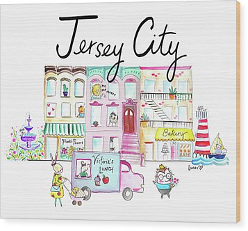 Jersey City Wood Print by Ashley Lucas