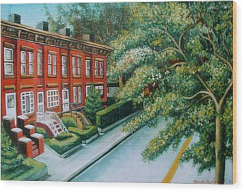 Wood Print featuring the painting Jersey City Street by Melinda Saminski