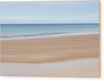 Jersey Coast Seascape Abstract Wood Print by Gill Billington