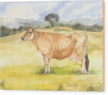 Wood Print featuring the painting Jersey Cow by Sandra Phryce-Jones