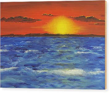Jersey Shore Sunset Wood Print