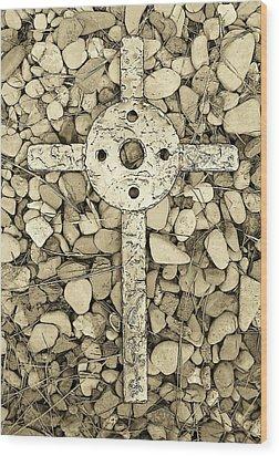 Jerusalem Cross In Sepia Tone Wood Print by Deborah Montana