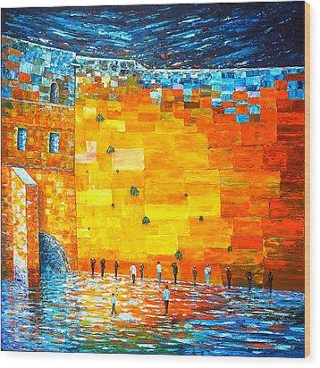 Wood Print featuring the painting Jerusalem Wailing Wall Original Acrylic Palette Knife Painting by Georgeta Blanaru