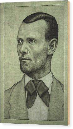 Jesse James Wood Print by James W Johnson