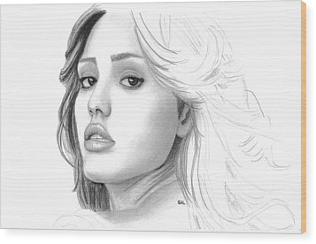 Jessica Alba Wood Print by Gil Fong
