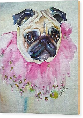 Jester Pug Wood Print by Christy  Freeman